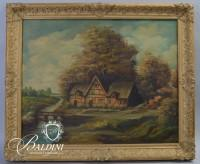 """Framed Oil on Canvas of German Pastoral Scene Signed """"Wach"""""""