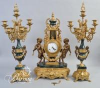 Italian 3-Piece Brass, Bronze and Marble Clock Set and Candelabra