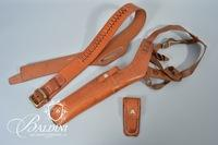 """Bianchi"" Leather Shoulder Holster, Hand Stitched Ammo Belt and Knife Holder"