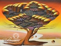 "Lucien Joel (Haitian) ""Love Tree"" Oil on Canvas, Framed"