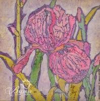 """Madlyn-Ann C. Woolwich (American b. 1937) Batik """"Iris"""""""