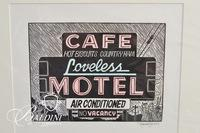 """Loveless Motel"" Linocut by Katherine Linn Signed and Numbered 22/100 E.V."