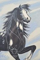 "Frank Vigil (1922-1974) ""Black Mustang Horse With A Smile"" Serigraph, Signed"