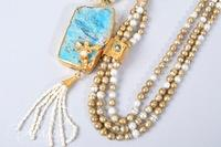 Statement Necklace Featuring Turquoise and Fresh Water Pearls with a 22Kt Gold Overlay Handcrafted in India