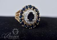 14K Gold Sapphire and Diamond Cocktail Ring