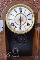 Carved Wood Case Mantle Clock - No Key
