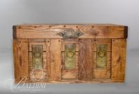 "Wood Trunk with Brass Accents, Carved Vessel on Top and Initials ""RC-80"""