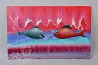 "(2) Gil Veda ""Fishy Tales - First Date"" Paintings on Board"