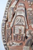 New Guinea Large Tribal Wood Carved Storyboard
