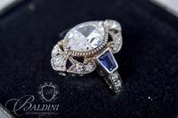 Xavier Costume Ring With Blue and CZ Stones