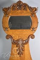 Mirrored Back Oak Hall Tree with Lift-top Seat