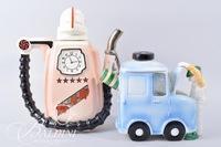 """Top-U-Up"" Gas Pump Teapot with Clock and Man Looking Under the Hood Teapot"
