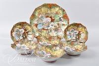 Hand Painted Japanese Satsuma Bowl and (6) Berry Bowls
