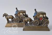 Stagecoach Bookends with Painted Carriage and Driver