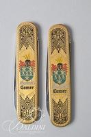 "(2) Robert Klaas Kissing Crane Germany Engraved Pocket Knives - ""Rostfrei"" Engraved on Blade"
