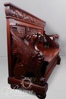 R.J. Horner Mahogany Hallway Bench with Carved Sitting Griffins and Green Man with Lift Top Seat
