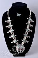"Sterling Silver Peyote Bird Squash Blossom Necklace Artist Marked ""KW"" and Small Pin"