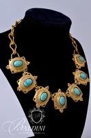 Brass Necklace with Blue Stones