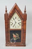 Elisha Manross Bristol Connecticut 2-Steeple Mantle Clock With Painted Bird