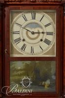 Birge-Mallory & Co. Shelf Clock with Carved Floral Crest, Columns and Reverse Painted Ship Scene