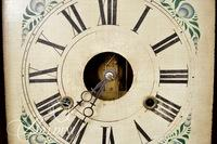 Birge-Peck 8-Day Brass Shelf Clock with Reverse Painting Half Columns and Paper Label Intact