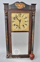 Boardman & Wells Bristol Connecticut Wooden Works Shelf Clock with Stenciled Columns and Painted Eagle