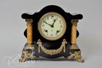Ansonia Mantle Clock with Marble Columns and Brass Detail