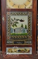 "Silas Hoadley ""Upside Down"" Wooden Works Shelf Clock with Stenciled Columns and Paw Feet"