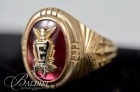 1959 East High School Class Ring Marked HJ10K with Simulated Ruby and Initialed DRS