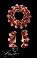 Vintage Red and Pink Rhinestone Brooch with Matching Earrings