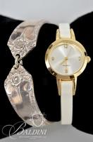 Quartz Watch with White Band and Spoon Bracelet Stamped IS