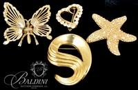 (4) Costume Brooches Includes Butterfly and Starfish