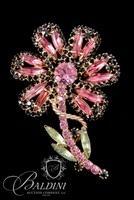 Rhinestone Flower Brooch