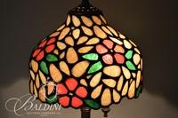 Stained Glass Lamp on Solid Brass Base with Acorn Finial