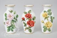 (3) Celestial Rose Sculptured Porcelain Vases by Rosanne Sanders