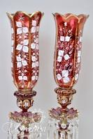 Pair of Hand Painted Enameled Victorian Bohemian Lusters with Prisms