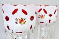 Pair of Victorian Bohemian White to Cranberry Hand Painted White Lusters with Heavy Prisms