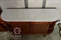 Mid Century Marble Top Sideboard with Curved Ends and Brass Railings
