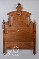 Victorian Carved Bed with Burl Panels and Carved Medallion Crest