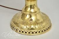 Brass Lamp with Floral Painted Shade