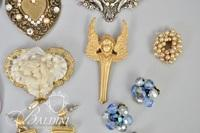 Costume Jewelry Brooches, Earrings and Rose Necklace