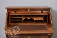 Roll Top Cylinder Desk with Burl Wood Panels