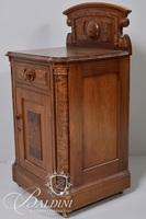 Victorian Solid Mixed Wood Cabinet with Burl Wood Panels, Single Door and Drawer