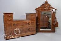 Victorian Eastlake Mirrored Dresser with Burl Wood Panels and Dovetail Joint Detail