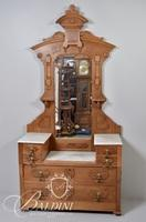 Victorian Eastlake Marble Top Dresser with Mirror and Original Hardware with Dovetail Joint Detail
