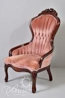 Victorian Ladies Chair with Tufted Back Pink Velvet Upholstery
