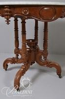 Victorian Marble Top Occasional Table with Fancy Carved Legs on Casters