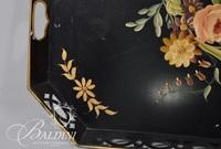 Metal Tray with Hand Stenciled Painting