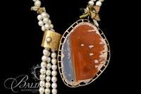 Lariat Statement Necklace with Agate and Fresh Water Pearls