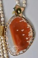 Lariat Necklace with Agate and Fresh Water Pearls